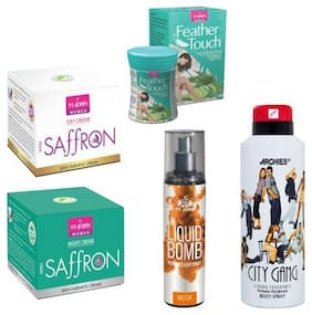 VI-JOHN Summer Kit For Women ( Saffron Day & Night Cream, Hair Removal Cream Cucumber Aloeavera, Deo City Gang, & Liquid Bomb Musk)