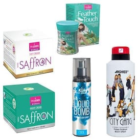 VI-JOHN Summer Kit For Women ( Saffron Day & Night Cream, Hair Removal Cream Cucumber Aloeavera, Deo City Gang, & Liquid Bomb Cool)