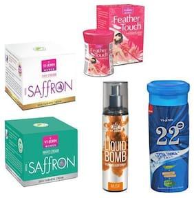 VI-JOHN Summer Kit For Women ( Saffron Day & Night Cream, Hair Removal Cream Rose, 22degree Extra Thanda Talc, & Liquid Bomb Musk)