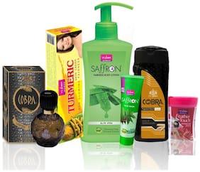 VI-JOHN Women Care Kit (Hair Remover ROSE & TALC GOLD SANDLWOOD 100GM;TURMERIC CREAM 50GM & Body Lotion Aleovera & Perfume Cobra 60ML & Face Wash Neem 21ml)