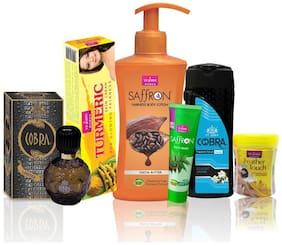 VI-JOHN Women Care Kit (Hair Remover HALDI CHANDNA & TALC CLASSIC JASMINE 100 GM TURMERIC CREAM 50GM & Body Lotion Cocoa Butter & Perfume Cobra 60ML & Face Wash Neem 21ml)