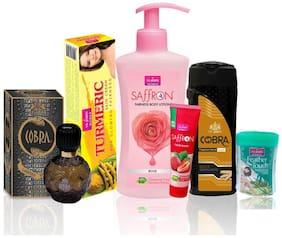 VI-JOHN Women Care Kit (Hair Remover CUCUMBER & TALC GOLD SANDLWOOD 100g;TURMERIC CREAM 50g & Body Lotion ROSE & Perfume Cobra 60ml & Face Wash FACE WASH STRAWBERRY 21ml)