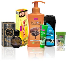 VI-JOHN Women Care Kit (Hair Remover Lime & TALC CLASSIC JASMINE 100 g TURMERIC CREAM 50g & Body Lotion COCOA BUTTER & Perfume Cobra 60ml & Face Wash Neem 21ml)