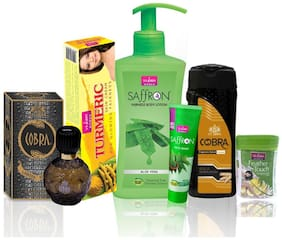 VI-JOHN Women Care Kit (Hair Remover Lime & TALC GOLD SANDLWOOD 100GM;TURMERIC CREAM 50GM & Body Lotion ALEOVERA & Perfume Cobra 60ML & Face Wash Neem 21ml)