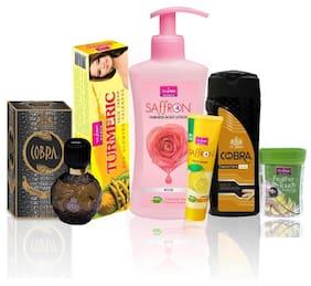 VI-JOHN Women Care Kit (Hair Remover Lime & TALC GOLD SANDLWOOD 100g;TURMERIC CREAM 50g & Body Lotion Rose& Perfume Cobra 60ml & FACE WASH LEMON 21ml)