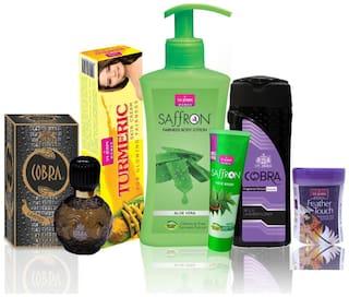 VI-JOHN Women Care Kit (Hair Remover Honey Saffron & TURMERIC CREAM 50GM;TALC MILD LAVENDER FLAVOR 100GM;& Body Lotion Aleovera & Perfume Cobra 60ML & Face Wash Neem 21ml)