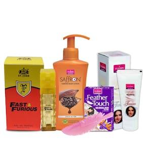 VI-JOHN Women Care Kit Hair Remover Honey/Saffron 40 g & Liquid Foundation 60g & Body Lotion Coca Butter 250 ml & Perfume FAST FURIOUS 30ml (Pack of 4)