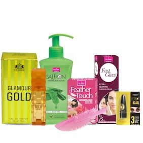 VI-JOHN Women Care Kit Hair Remover Rose 40 g & Fast Glow Fairness Cream 50 g & Body Lotion Aleovera 250 ml & perfume GLAMOUR GOLD 30 ml & Kajal 2.5g (Pack of 5)