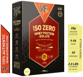 Vigour Fuel Iso Zero Whey Protein Isolate Powder with Digestive Enzymes & Probiotics-2 lbs (908 g) French Vanilla