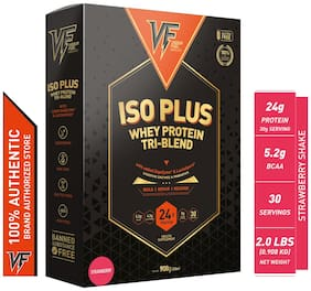 Vigour Fuel Iso Plus Tri-Blend Whey Protein Powder with Digestive Enzymes & Probiotics-2 lbs (908 g) Strawberry Shake
