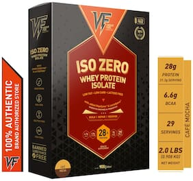 Vigour Fuel Iso Zero Whey Protein Isolate Powder with Digestive Enzymes & Probiotics-2 lbs (908 g) Cafe  Mocha