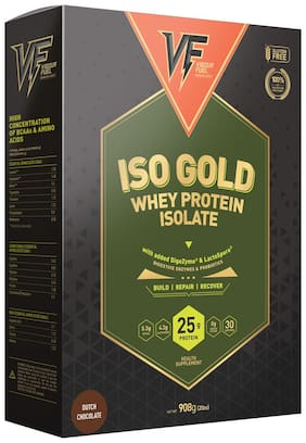 Vigour Fuel Iso Gold Whey Protein Isolate Powder with Digestive Enzymes & Probiotics 2 lbs (908g) Dutch Chocolate