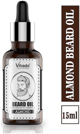 Vihado 100% Natural Beard Growth Oil (Almond) Hair Oil 15 ml (Pack of 1)
