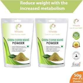 Vihado 100% Natural Green Coffee Bean Powder For Weight Management - 50g (Pack of 2)