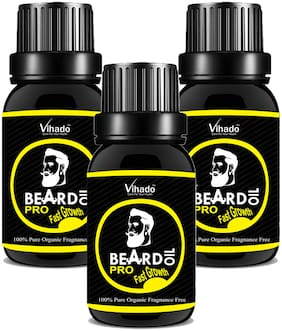 Vihado Beard Growth Oil 100 Percent Organic Beard and Moustache Hair Growth Oil 10 ml (Pack of 3)