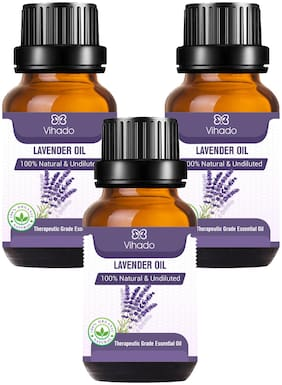 Vihado Best Lavender Essential Oil, 100% Natural Pure, for, Skin, Relaxing Sleep Aroma (15 ml) (Pack of 3)