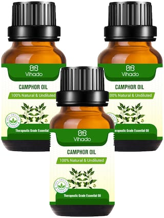Vihado Best Camphor Essential Oil - 100% Pure Natural Undiluted For Skin Care Treatment (10 ml) (Pack of 3)