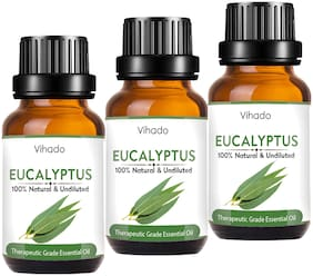 Vihado Best Besr Natural Eucalyptus Essential Oil For Aromatherapy Aroma (15 ml) (Pack of 3)