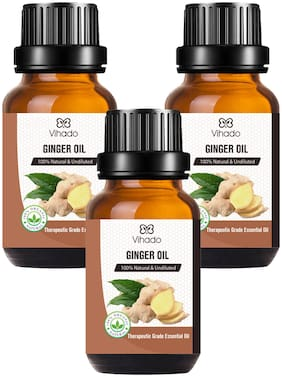 Vihado Best Ginger Oil - Pure and Therapeutic Grade - Massage Suitable for All Skin Types Pure Essential Oil (15 ml) (Pack of 3)