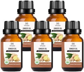 Vihado Best Ginger Essential Oil - 100% Pure Natural & Undiluted For Skin care & Hair (10 ml) (Pack of 5)