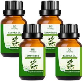 Vihado Best Camphor Essential Oil - Pure Natural Therapeutic Grade Oil Therapeutic Grade Oil For Skin Care & Hair Care (10 ml) (Pack of 4)