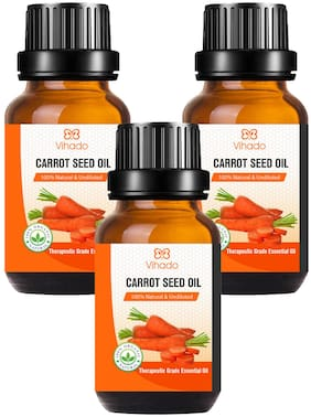 Vihado Best Carrot Seed Essential Oil - 100% Pure Natural & Undiluted For Skin care & Hair (30 ml) (Pack of 3)