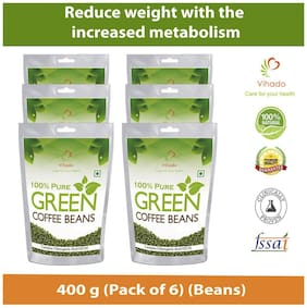 Vihado Best Quality 100% Natural Green Coffee Beans  For Weight Management - 400g (Pack of 6)