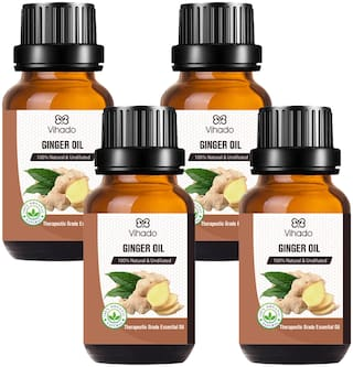 Vihado Best Ginger Essential Oil - 100% Pure Natural & Undiluted For Skin care & Hair (10 ml) (Pack of 4)