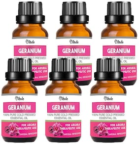 Vihado Geranium Essential Oil 100% Pure Natural & Therapeutic Grade For Aromatherapy;Skin;Acne & Hair Growth (20 ml) (Pack of 6)