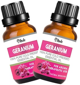Vihado Geranium Essential Oil 100% Pure Natural & Therapeutic Grade For Aromatherapy;Skin;Acne & Hair Growth (25 ml) (Pack of 2)