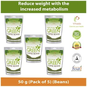 Vihado Green Coffee Beans  for Weight management & belly fat burner -50g (Pack of 5)