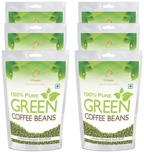 Vihado Green Coffee Beans  for Weight management & belly fat burner 100g (Pack of 6)