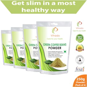 Vihado Green Coffee Beans Powder for Weight management & belly fat burner - 250g (Pack of 4)