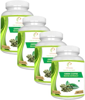 Vihado  Green Coffee Bean Extract Pure (60% GCA) 800 Mg 60 Capsules 100% Natural Weight Loss Supplement (Pack of 4)