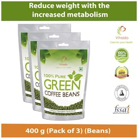 Vihado Green Coffee Beans Organic  for Weight Loss - 100% Pure, Unroasted, Arabica AAA+ -400g (Pack of 3)