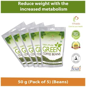Vihado Organic Green Coffee beans  for weight loss 50g (Pack of 5)