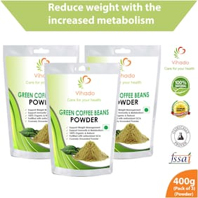 Vihado Organic Green Coffee beans Powder for weight loss - 400g (Pack of 3)