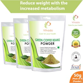Vihado Organic Green Coffee beans Powder for weight loss - 50g (Pack of 3)