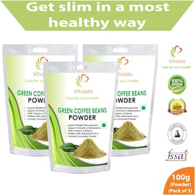 Vihado Organic Green Coffee beans Powder for weight loss - 100g (Pack of 3)