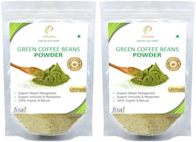 Vihado Premium Quality Green Coffee Beans Powder, Natural, Pure, Organic and Effective for Weight Loss.(2 Pack of 400g)