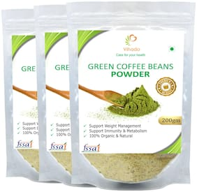 Vihado Premium Quality Green Coffee Beans Powder, Natural, Pure, Organic and Effective for Weight Loss.(3 Pack of 200g)