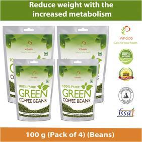 Vihado Pure Arabica Green Coffee Beans  100g (Pack of 4)