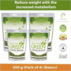 Vihado Pure Arabica Green Coffee Beans  500g (Pack of 4)