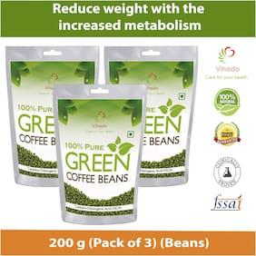 Vihado Pure Arabica Green Coffee Beans  200g (Pack of 3)