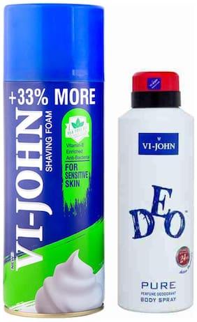 VI-JOHN Grooming Kit(Shave Foam 400 gm For Sensitive Skin & VI-JOHN Deo Pure)