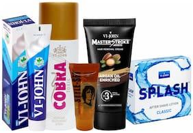 VIJOHN Men Personal Gromming Kit (Shaving Cream ICY MINT 125gm;Master Stroke Hair Removal Argan 60gm;After shave Lotion SPLASH 50gm;Hair Gel 25gm;Deo Cobra Toxic 150ml )