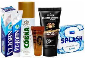 VIJOHN Men Personal Gromming Kit (Shaving Cream CLASSIC 125g;Master Stroke Hair Removal Argan 60g;After shave Lotion SPLASH 50g;Hair Gel 25g;Deo Cobra Envy 150ml )