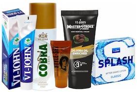 VIJOHN Men Personal Gromming Kit (Shaving Cream TROPICAL LIME 125g;Master Stroke Hair Removal jojoba 60g;After shave Lotion Splash 50g;Hair Gel 25g;Deo Cobra Envy 150ml )