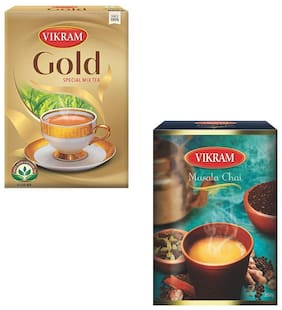 Vikarm Savory Combo of Vikram Gold Mix 500 g, Vikram Masala Tea 250 g Pack of 2
