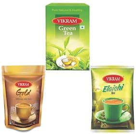 Vikram Gold Mix Tea 500g/Green Tea 100g And Elaichi Dust Tea 250g Combo (Pack of 3)